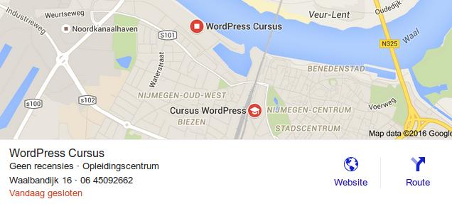 Google Maps Resulaten voor WordPress Cursus Nijmegen