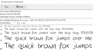 Lettertype preview Windows